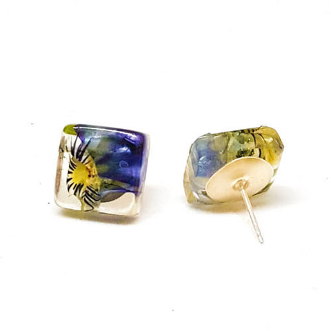 Square Post Earrings with Pansies