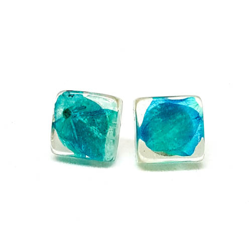 Square Post Earrings with Blue Hydrangea