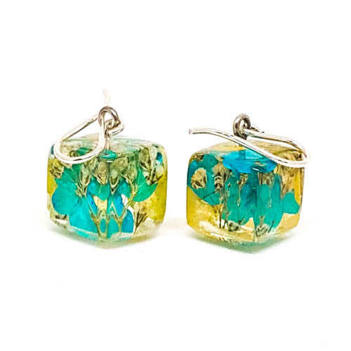 Resin Earrings with Blue and Yellow Hydrangeas and Baby's Breath