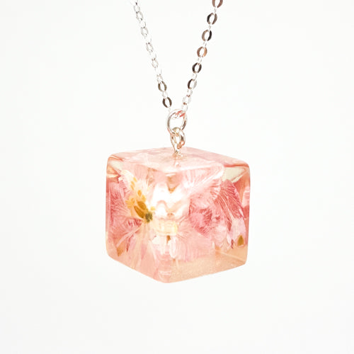 Resin Necklace with Pink Larkspur