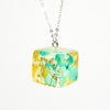 Resin Necklace with Blue andYellow Hydrangeas and Baby's Breath