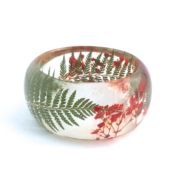 Resin Bracelet with Ferns