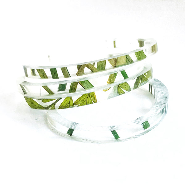 Stackable Skinny Cuff with Grass and Fern