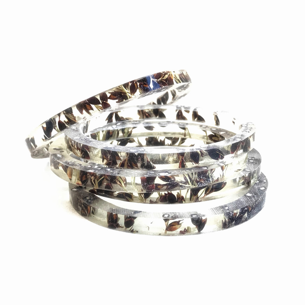 Stackable Skinny Bangle with Black Sorghum
