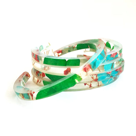 Stackable Skinny Cuff with Blue and Green Hydrangeas and Red Baby's Breath