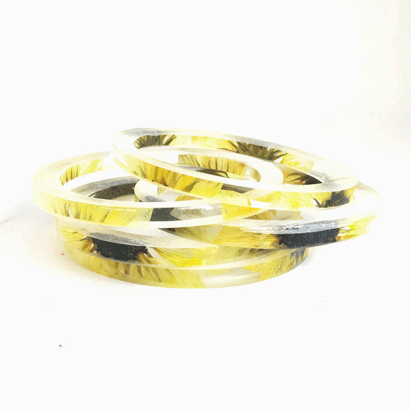 Stackable Skinny Bangle with Sunflowers