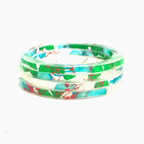 Stackable Skinny Bangle with Blue and Green Hydrangea and Red Baby's Breath