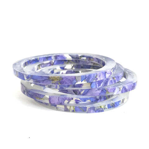 Stackable Skinny Bangle with Purple Larkspur