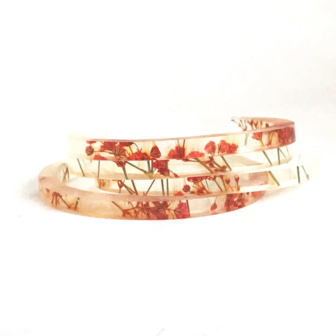 Stackable Skinny Cuff with Red Baby's Breath