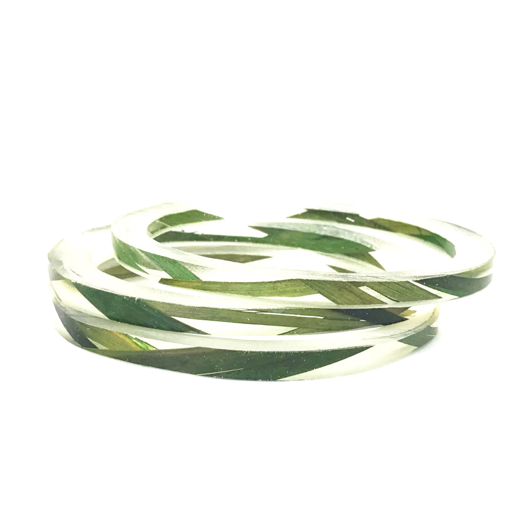 Stackable Skinny Bangle with Grass or Fern