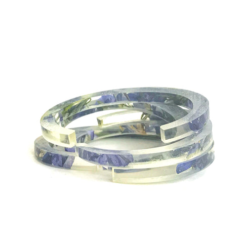 Stackable Skinny Cuff with Purple Larkspur