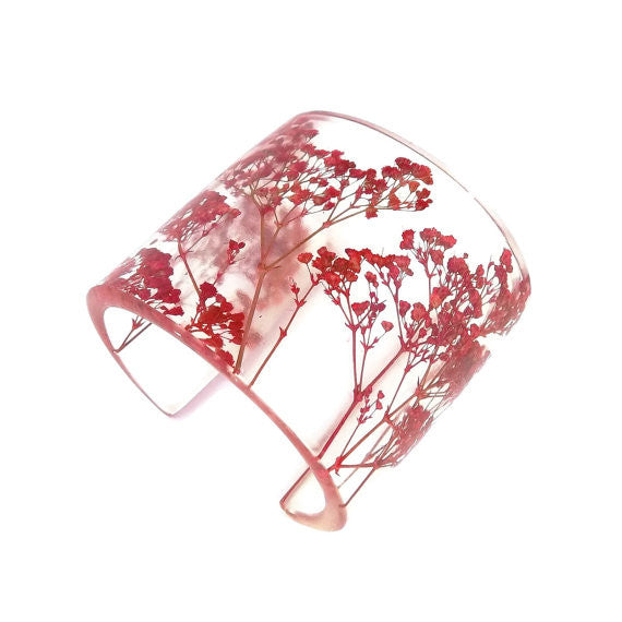 Eco Resin Cuff with Red Baby's Breath