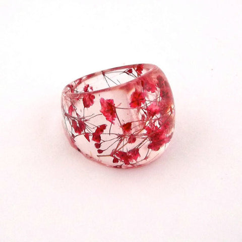 Seconds Sale - Resin Ring with Red Baby's Breath