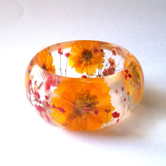Resin Bracelet with Yellow Cosmos and Red Baby's Breath