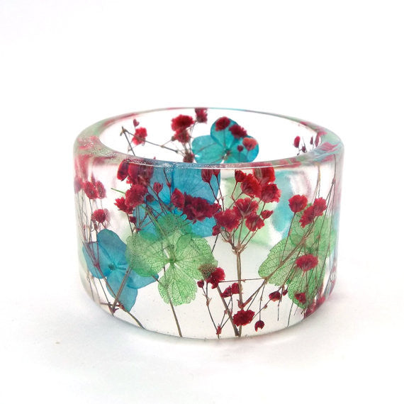 Blue and Green Hydrangeas and Red Baby's Breath Resin Bracelet