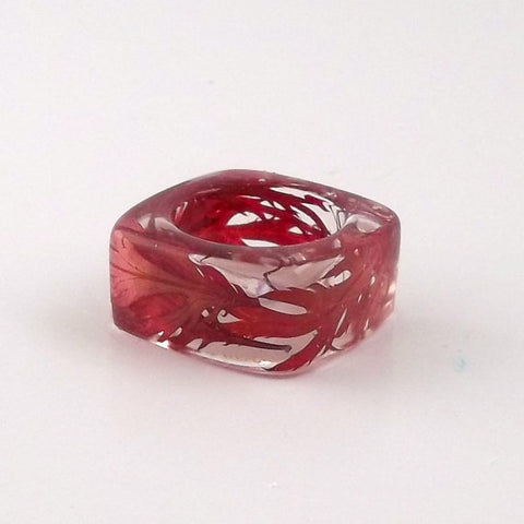 Seconds Sale - Square Resin Ring with Laceleaf Japanese Maple