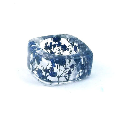 Square Resin Ring with Blue Baby's Breath