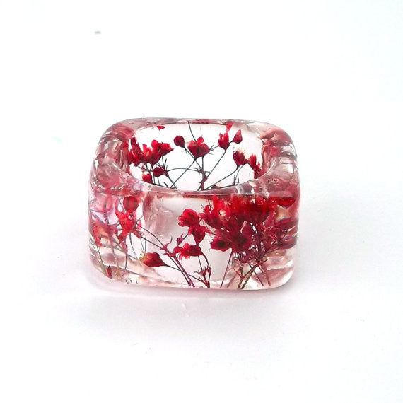 Seconds Sale - Square Resin Ring with Red Baby's Breath
