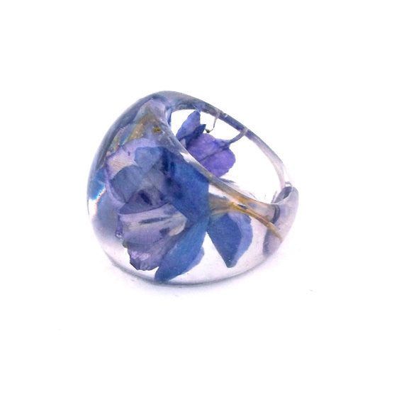 Seconds Sale -  Resin Ring with Purple Larkspur