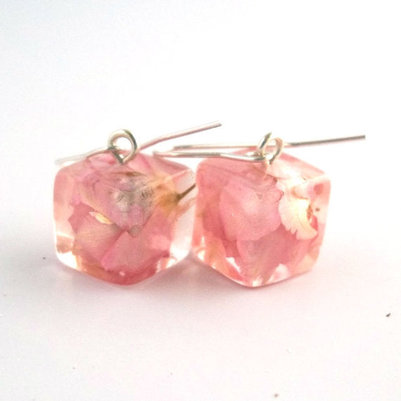 Resin Earrings with Pink Larkspur
