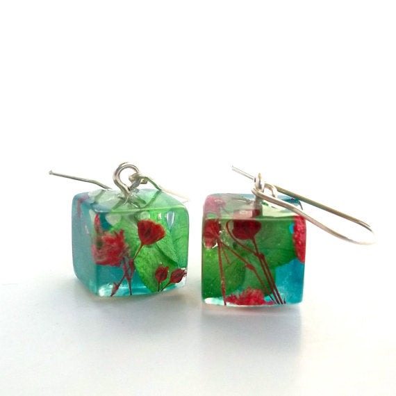 Resin Earrings with Green and Blue Hydrangeas and Red Baby's Breath