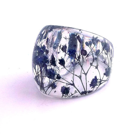 Seconds Sale -  Resin Ring with Blue Baby's Breath