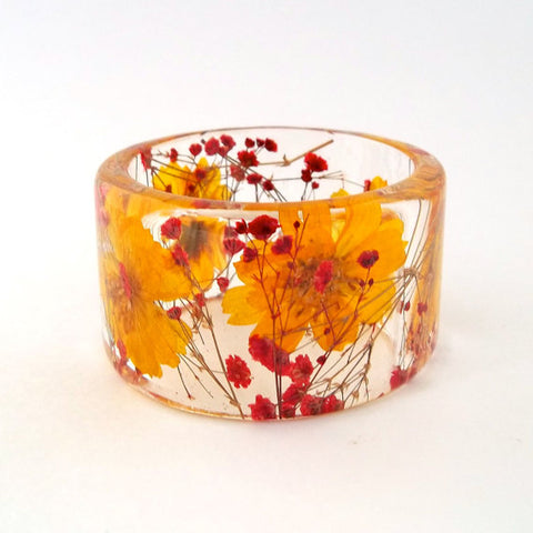 Yellow Cosmos and Red Baby's Breath Resin Bracelet