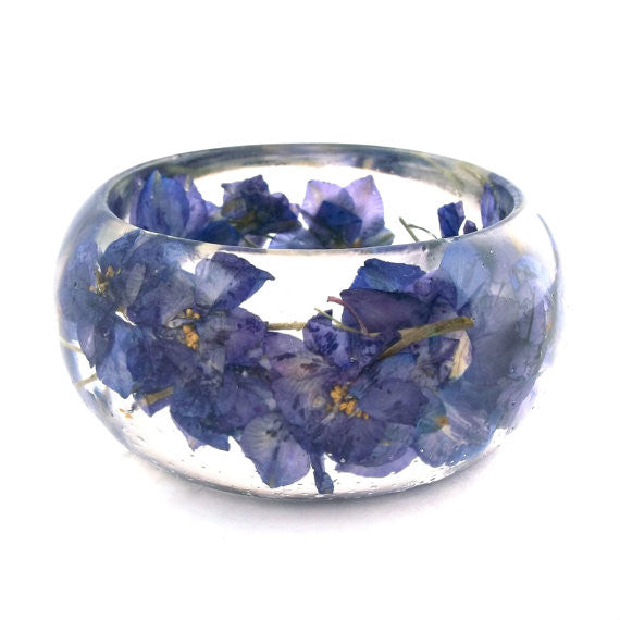 Seconds Sale -  Resin Bracelet with Purple Larkspur