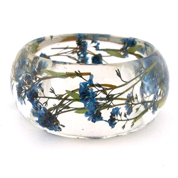 Resin Bracelet with Forget Me Nots