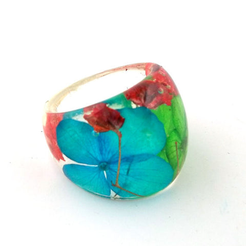 Seconds Sale - Resin Ring with Blue and Green Hydrangeas and Red Baby's Breath