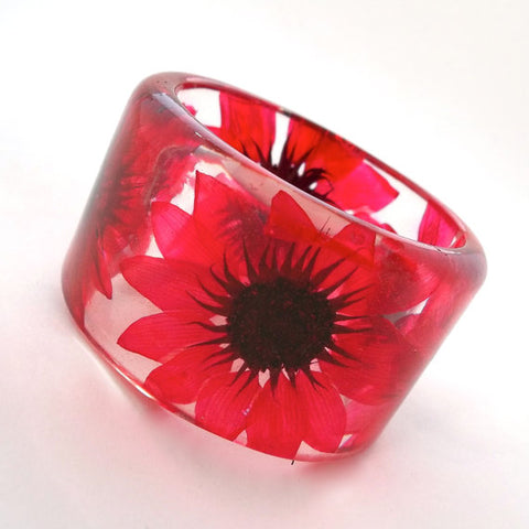 Red Sunflowers Resin Bracelet