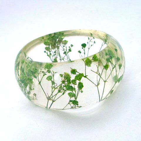 Resin Bracelet with Green Baby's Breath