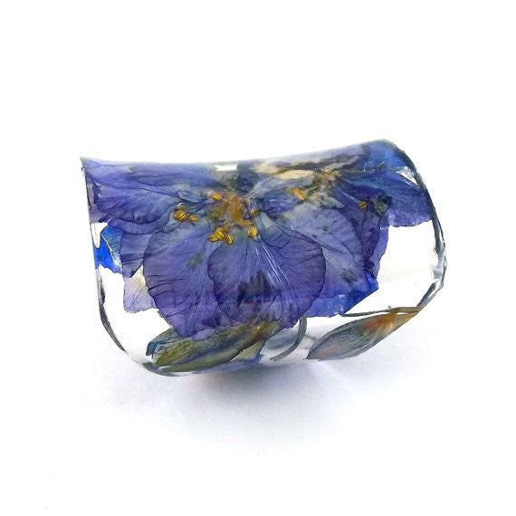 Seconds Sale - Wide Resin Ring with Purple Larkspur