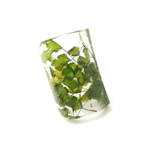 Seconds Sale - Wide Resin Ring with Maidenhair Fern