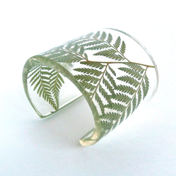 Eco Resin Cuff with Ferns