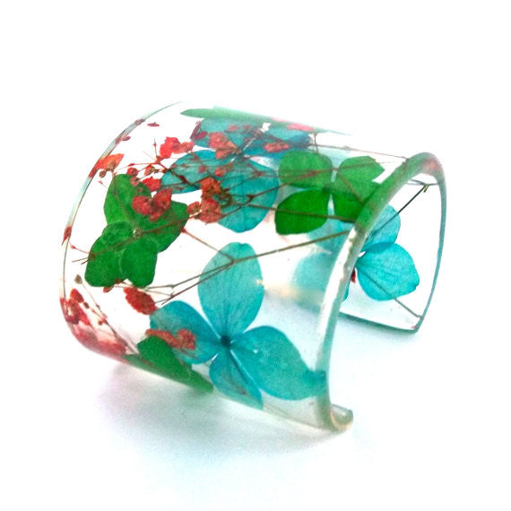 Eco Resin Cuff with Blue and Green Hydrangeas and Red Baby's Breath