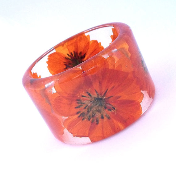 Orange Cosmos Resin Bracelet