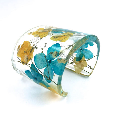Eco Resin Cuff with Blue and Yellow Hydrangeas and Baby's Breath