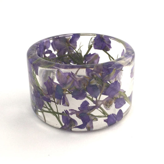 Purple Larkspur Resin Bracelet