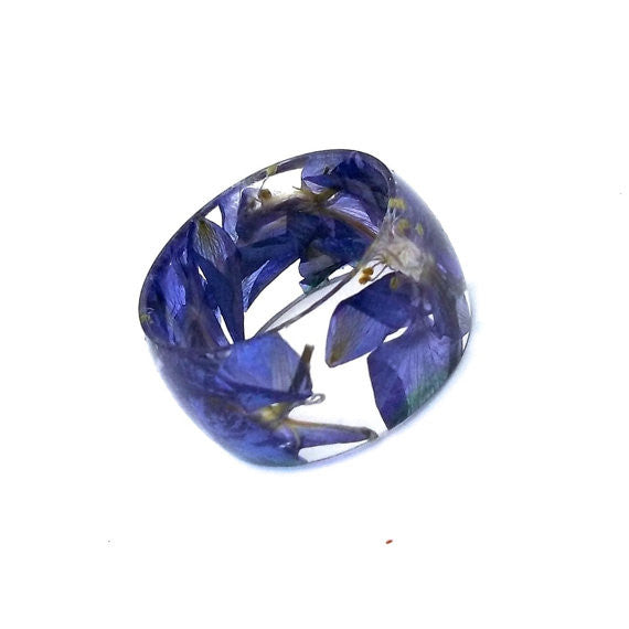 Resin Band Ring with Purple Larkspur