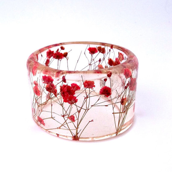 Red Baby's Breath Resin Bracelet