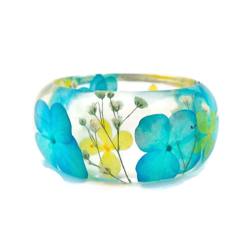 Resin Bracelet with Baby's Breath and Blue and Yellow Hydrangeas