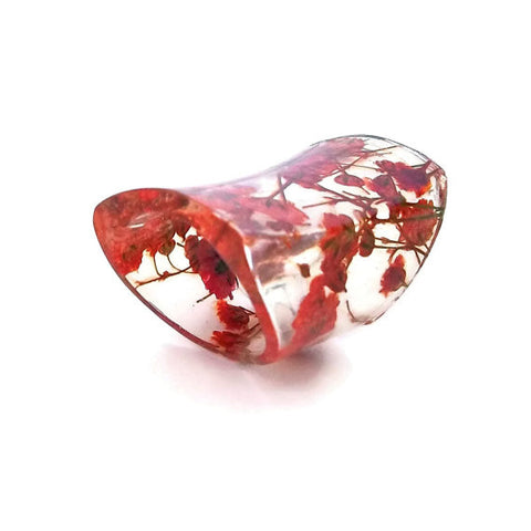 Seconds Sale - Wide Resin Ring with Red Baby's Breath