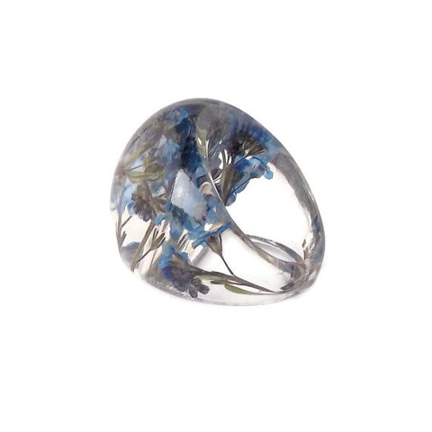 Seconds Sale - Resin Ring with Forget Me Nots