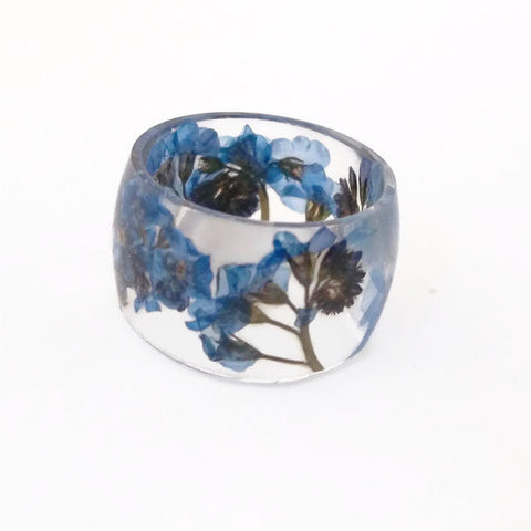 Resin Band Ring with Forget Me Nots