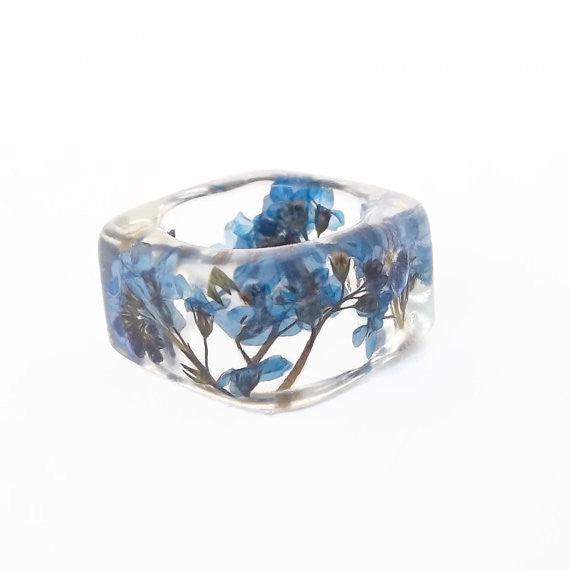 Seconds Sale - Square Resin Ring with Forget Me Nots