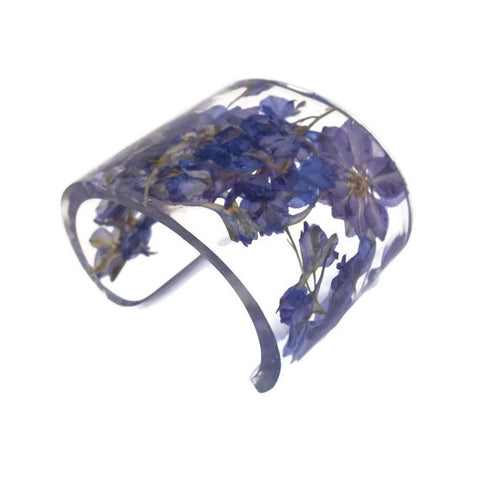 Eco Resin Cuff with Purple Larkspur