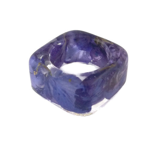 Square Resin Ring with Purple Larkspur