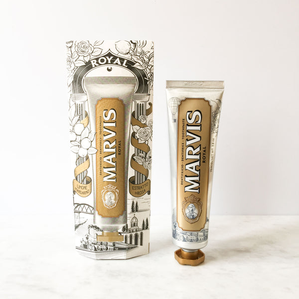 Marvis Royal Mint Toothpaste 75ml Limited Edition Women's Facial Care Women travel toothpastes toothpaste toothe tooth decay tooth teeth care teeth tartar quality prevent plaque paste Mouthcare mouth care Mouth minty mint Men's Facial Care Men mavis Marvis Toothpaste Marvis Made in Italy Luxury Mouthcare licorice italy italian fresh florence facial care face care face drugstorelove drugstore's drugstore drug-store dental care decay cult artisanal amarelli royal mint rose extract tangerine nutmeg lemon oil