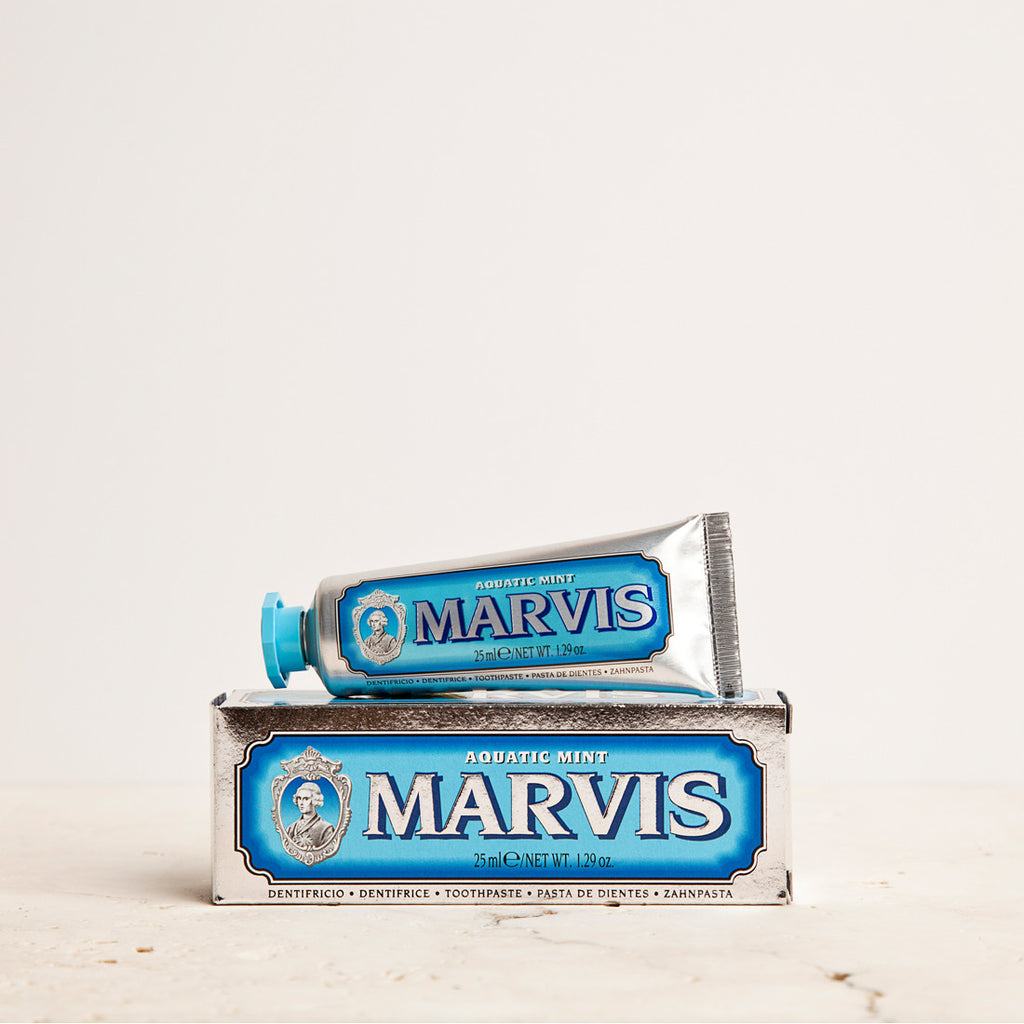 Marvis Aquatic Mint Travel Size Toothpaste 25ml Women's Facial Care Women whitening whitener whiten white toothpaste tooth decay tooth teeth care teeth tartar quality prevent plaque paste Mouthcare mouth care Mouth minty mint Men's Facial Care Men mavis Marvis Toothpaste Marvis Made in Italy italy italian gifts gift fresh florence flavours flavour facial care face care face drugstorelove drugstore's drugstore drug-store decay cult artisanal